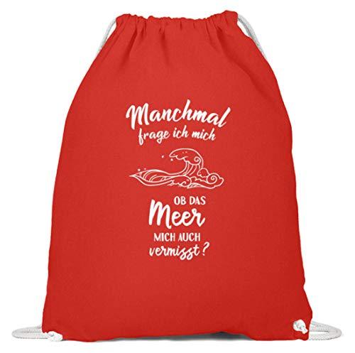 shirt-o-magic Strand: Ob das Meer mich vermisst? - Baumwoll Gymsac -37cm-46cm-Hellrot