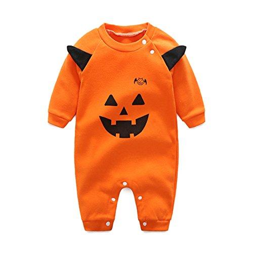 ne halloween kostüme langarm strampler junge mädchen schlafanzug einteiler baby schlafstrampler, Orange,3-6 Monate Kürbis (Neugeborenes Mädchen Halloween-kostüm)