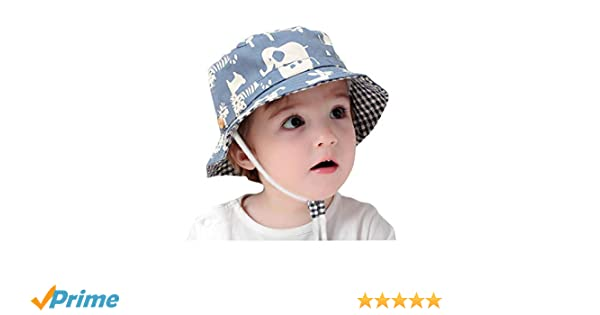 GEMVIE Fischerhut Baby Junge M/ädchen Sonnenhut Kleinkind mit Tierdruckt f/ür 0-6 Jahre Blau