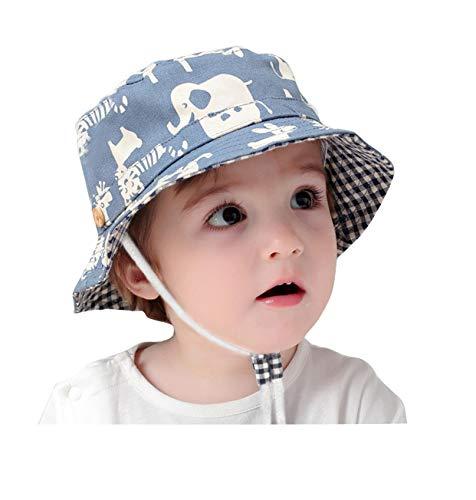 GEMVIE Fischerhut Baby Junge Mädchen Sonnenhut Kleinkind mit Tierdruckt für 0-6 Jahre Blau (Umfang von Hut 48cm) Baby-jungen-hut