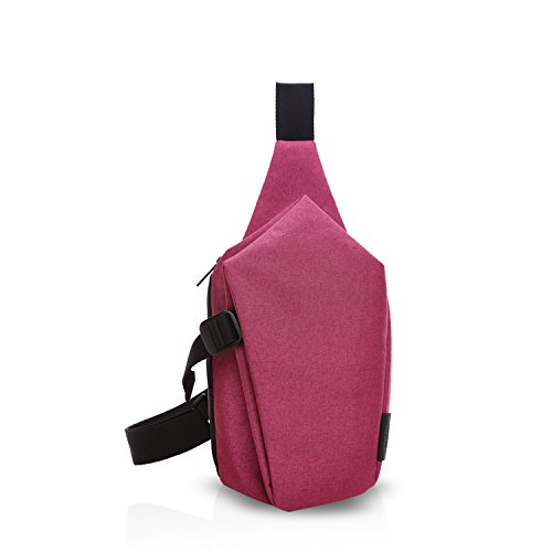 FANDARE Sling Bag Rucksack Umhängetasche Brusttasche Messenger Bag Schultertasche Reisen Wandern Daypack Crossbody Bag Chest Pack Outdoor Sports Reisetasche Polyester Grau Rot