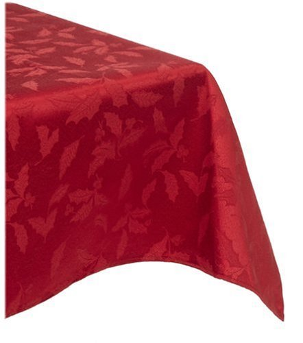 Lenox Holly Damask Tablecloth, 60 by 120-Inch Oblong/Rectangle, Red by Lenox Lenox Holly