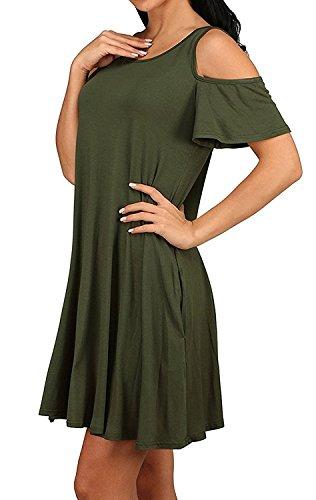 Minetom Donna Estate Vestiti Senza Spalline Tinta Unita Manica Corta Rotondo Collo Elegante Abito a Pieghe Mini Abiti Camicia Dress Corto da Matrimonio Banchetto Sera Verde
