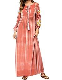 Qianliniuinc Inverno Ricamo Lunga Maxi Dress-Islamico Musulmano Donne  Casuale Abiti Vestito Lungo Ramadan Preghiera 12294fc2f8c