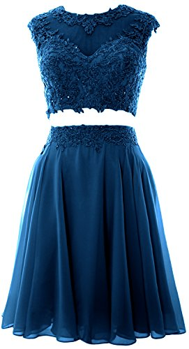 MACloth Women Vintage 2 Piece Prom Homecoming Dress Lace Wedding Party Gown (56, Teal) (Top Lace Teal)