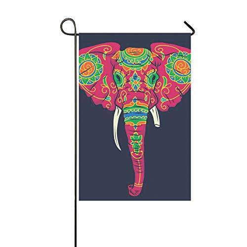 Dekorative Outdoor Double Sided Day Dead bunte Sugar Elephant Head Garten Flagge, Haus Yard Flagge, Garten Yard Dekorationen, saisonale Willkommen Outdoor Flagge 12 X 18 Zoll Frühling Sommer Geschenk (Elephant Head Kostüm)
