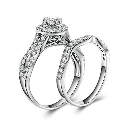(Custom Ringe)Adisaer Ring Silber 925 Damen Runde Kristall Geometrie Zirkonia Verlobungsring Größe 60 (19.1) Kostenlos (Kostüm Der Keks Hund)