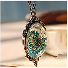 Premium & Stylish Charming Dry Flower Multi Shape Glass Necklace by Zarood for Party, Evening & for Every Day Use, Ideal gift for Birthday, Anniversary, Valentine.