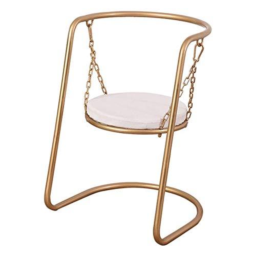 LLYU Nordic Iron Art Esszimmerstühle Swing Art personalisierter Esszimmerstuhl Einzelstuhl Creative Home Accent Chair Balkon Simple Leisure Swing Seat Chair |Maximale Last 100KG (Set Mit 3 Accent Stühle)