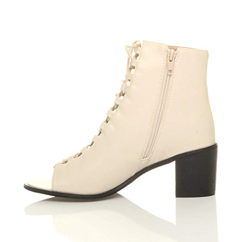 Donna blocchetto tacco medio aperte a punta stringhe sandali stivaletti numero Beige opaco