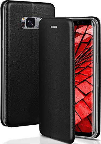 ONEFLOW® Premium Booklet mit unsichtbarem Magnetverschluss + Aufstellfunktion kompatibel mit Samsung Galaxy S8 | Exklusive Lederoptik, Schwarz