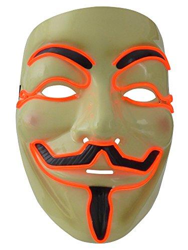Leuchtmaske der besonderen Art, eine in Rot leuchtende und blinkende Vendetta LED Maske