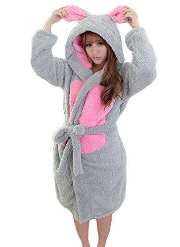 GTKC Warme Kapuzen-Bademantel Robe Kleid Nachtwäsche Cosplay Kostüm Nachthemd Maus S (Satin-robe Charmeuse)