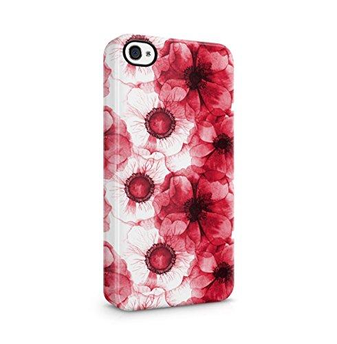 Crimson Rot Waterpaint Vintage Blume Blossom Pattern Dünne Handy Schutzhülle Hardcase Aus Hartplastik Hülle für iPhone 4 / iPhone 4S Handyhülle Case Cover (Lotus-blume Iphone 4 Case)