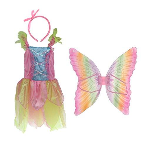 chen Regenbogen Kostüm Engel Zauberin Prinzessin Weihnachten Karneval Fasching - Mehrfarbig, M (Engel Prinzessin Kostüm)