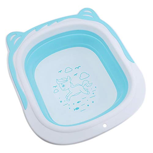 FNCUR Klappwaschbecken Mehrzweckklappbecken Babyklappbecken Camping Tragbares Waschbecken Kunststoffwaschbecken Leicht Zu Lagern Töpfe Haushaltsküche Verwenden (Color : Blue, Größe : L)