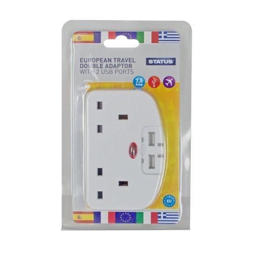 Status Solutions (Status STETAWUSB1PK3 Europäischen Travel 2-Wege Adapter mit 2 USB-Anschlüssen, Weiß)