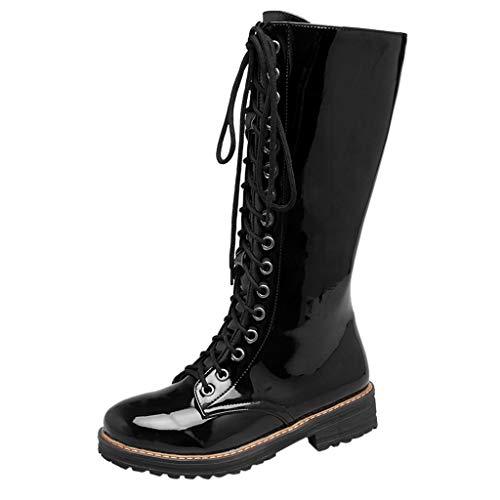 Mymyguoe Stiefeletten Damen Reißverschluss Oberschenkel Hohe Stiefel Frauen Winter Schnür Klassisch Solid mit Reißverschluss Stil Wildleder Stiefeletten Schuhe - Solid Snake Kostüm