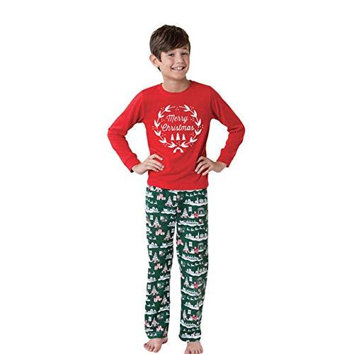 Ears Weihnachts-Eltern-Kind-Pyjamas eingestellt Kleidung Frau Weihnachtsdruck langärmeliges rotes Hemd grüne Hosenanzug Herren-Pyjamas Babyanzug Jungen Pyjamas Mädchen Weihnachtskostüm