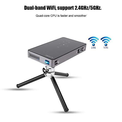 Wendry Tragbarer Heimprojektor, intelligenter Mikroprojektor, Quad-Core-CPU, Dual-Band-WLAN, DLP-Technologie, Unterstützung für Android/IOS-Bildschirmspiegelung(EU) - Aufhellung System