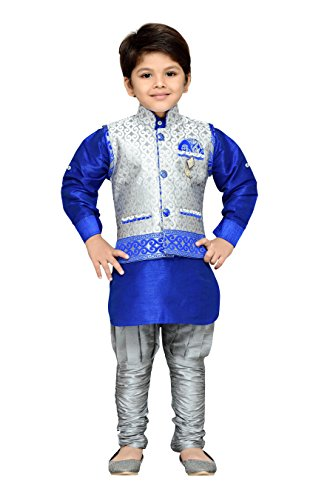 AJ Dezines Kids Kurta Pyjama Waistcoat Set for Boys (636_GRAY_3)