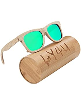LY4U Gafas de sol Wayfarer para hombre y mujer de madera, Gafas vintage, Wayfarer flotante