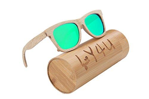 LY4U madera para hombre y gafas de sol para mujer, gafas Vintage, gafas de sol flotantes con caja de bambú