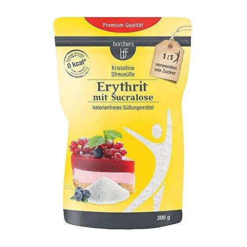 borchers Erythrit mit Sucralose Kristalline Streusüße, Zuckeralternative, Süßungsmittel, Kalorienfrei, Laktosefrei 300 g -