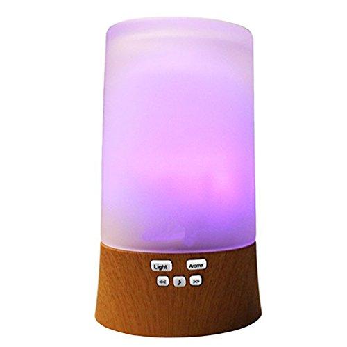 Preisvergleich Produktbild TJUAN All-in-one Holz Aroma Diffusor Aromatherapie Luftbefeuchter + Farbwechsel Stimmung Licht + Sound Maschine + Lautsprecher Musik Player für MP3 MP4 Smartphone (Holzmaserung)