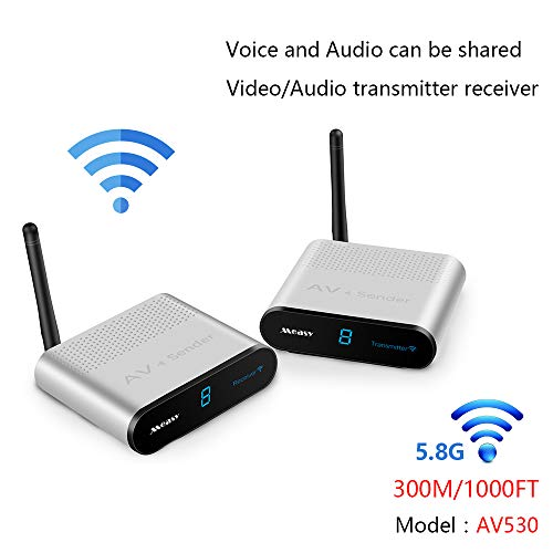 Measy AV530 5,8 GHz 8-Kanal 300 m/1000 Fuß BZW. 305 m Wireless Audio Video AV SD TV Sender Transmitter & Receiver