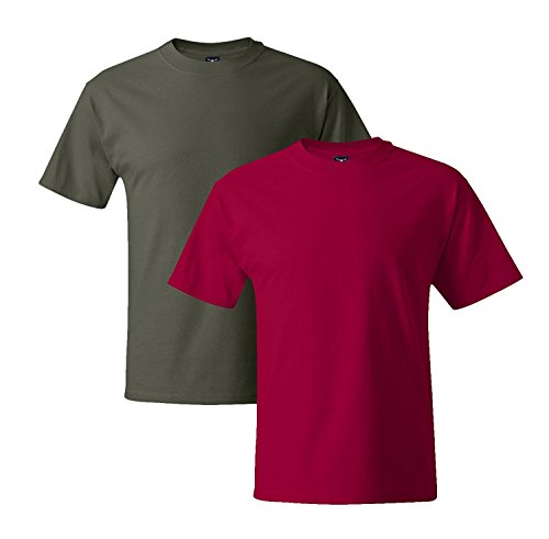 Hanes Mens 5180 Short Sleeve Beefy T 1 Deep Red / 1 Fatigue Green