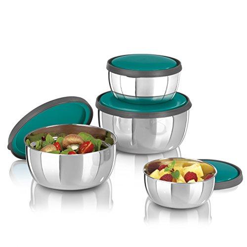 GOURMETmaxx - Juego de tazones de acero inoxidable con tapa, Tazón de fuente y cuenco de ensalada, Tazones de almacenamiento de comida,  4 piezas (1600, 1200, 750, 450 ml)