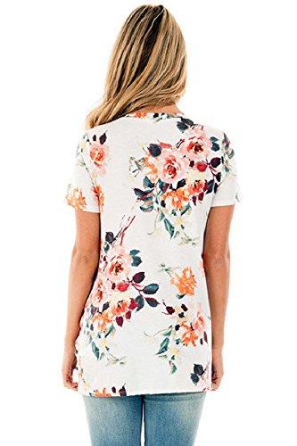 Walant Damen Gedruckt Mode Shirts Tops Bluse Lose Kurzarm T-Shirt Sommer Weiß