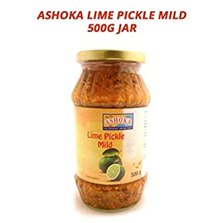 Ashoka Lime Pickle Mild | Mildly Spicy | Enhance The Taste of Indian Meals | Heathy Pickle | Unique Indian Flavours with Healthy Olive Oil | Try with Poppadoms | No Additives | Vegan | 500g Jar