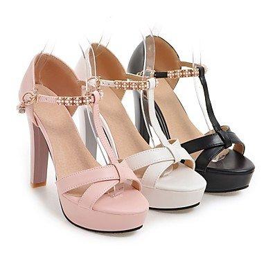 LvYuan Sandali-Casual Serata e festa-Cinturino Club Shoes-Quadrato-Finta pelle-Nero Rosa Bianco Pink