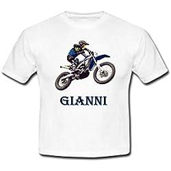 GRAVOPHOTO Tshirt personnalisé Moto Cross Bleue prénom et Taille au Choix