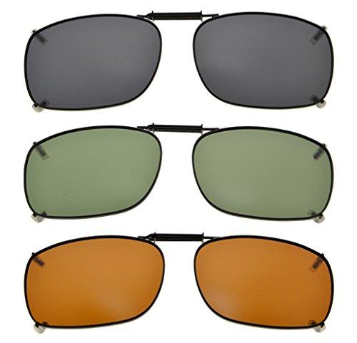 Eyekepper Grau/Braun / G15 Linse 3-pack Clip-on Polarisierte Sonnenbrille 54x38MM Graue Linse