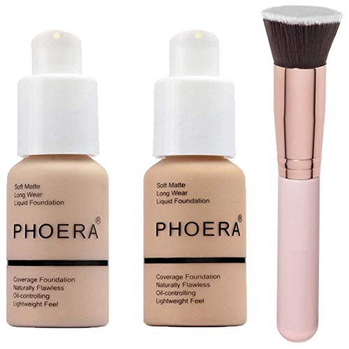 Phoera Foundation Concealer Cover Flüssigmatt Full Coverage Concealer Cover Shadows Skin Care Foundation Oil Control Erhellen Sie den langlebigen Shade Nude #102,Buff Beige #104
