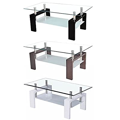 Home Discount Elise Rectangular Coffee Table In White, Walnut Or Black Modern Glass Living Room Furniture - cheap UK light shop.