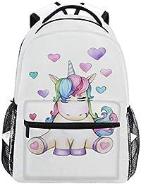 Mochila de unicornio con corazones, resistente al agua, para estudiantes, viajes, ordenador