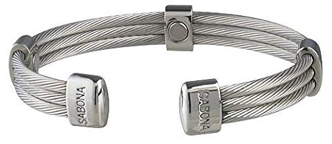 Armband CABLE Edelstahl Magnetverschluss für Damen und Herren–SABONA Frankreich. Größe klein extra–Armband (15,2cm) für Handgelenk 15,2cm.