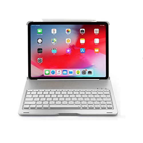 Ipad pro11 zoll abs aluminiumlegierung mit hintergrundbeleuchtung drahtlose bluetooth tastatur case + aluminiumlegierung abdeckung (Silber)