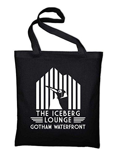 The Iceberg Lounge Arkham Gotham Penguin Fun Jutebeutel, Beutel, Stoffbeutel, Baumwolltasche, schwarz, schwarz Schwarz