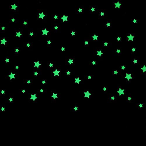Preisvergleich Produktbild wandtattoo wall stickers decal Kolylong Kinder-Schlafzimmer fluoreszieren Sterne Wand Aufkleber (100PC, C)