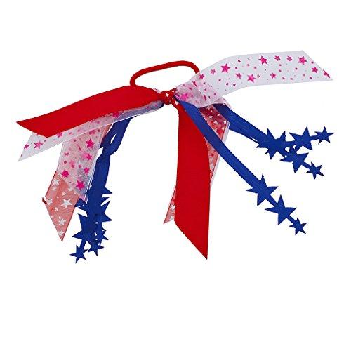 Lux Accessoires Bleu Blanc Rouge Rose America USA étoiles ruban élastique Cheveux Cravate