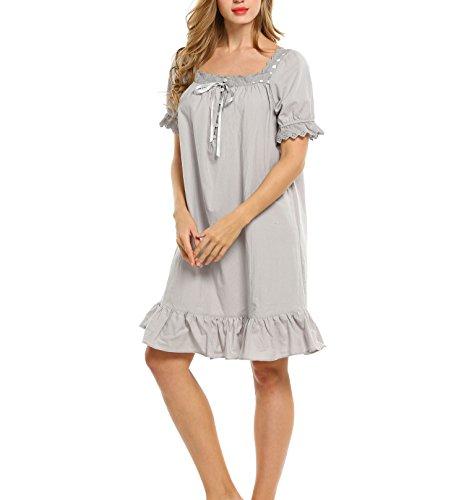 Keland Damen Nachthemd kurzarm Sleepshirt Schlafanzüge mit Lotusblatt Seite grau lang