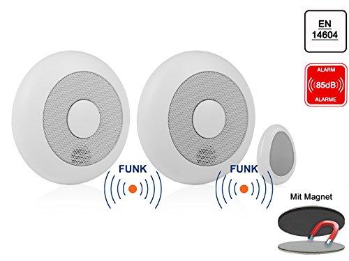 2er-Set vernetzbare Rauchmelder + Fernbedienung + Magnethalter, verlinkbar, erweiterbar /...