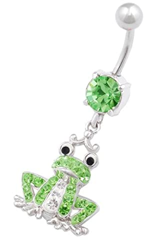 Frog dangle navel belly button ring bar stud 14g cute stainless steel body piercing jewellery IAFF