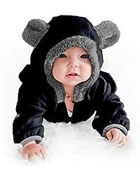 Fossen Kids Ropa de Bebe Niña Recien Nacida Cremallera Caricatura Mameluco Abrigo de Niño Niña - Monos Ropa Bebe Niña Otoño Invierno 0-24 Meses