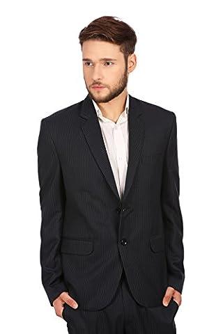 Wintage Men's Merino Wool Blend Notch Lapel Pin Stripe Suit: Navy, 5X-Large